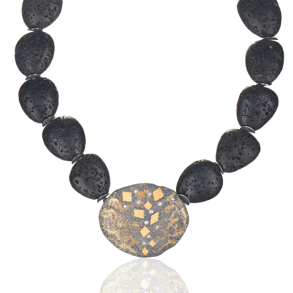Harlequin Lava Rock Necklace