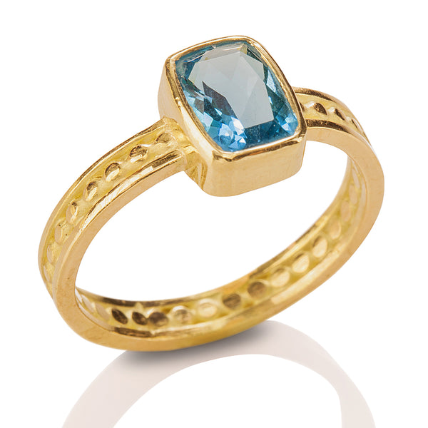 Bead & Rail Blue Topaz Ring