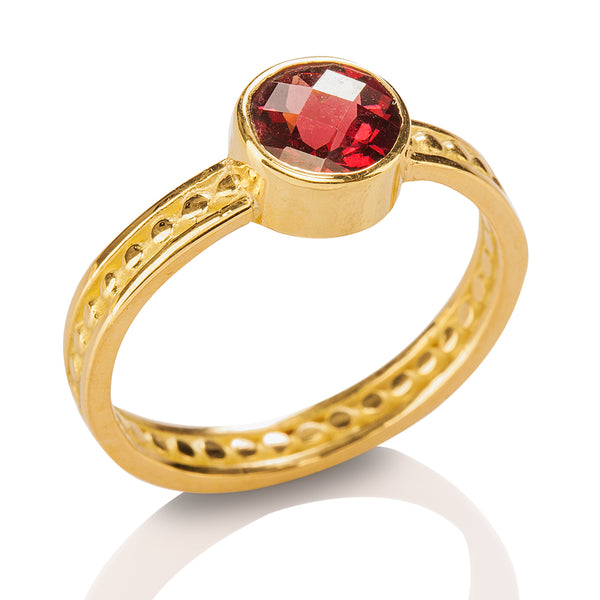 Bead & Rail Garnet Ring