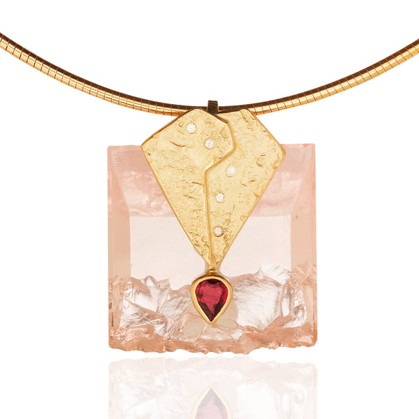 Rose Quartz and Pink Tourmaline Pendant