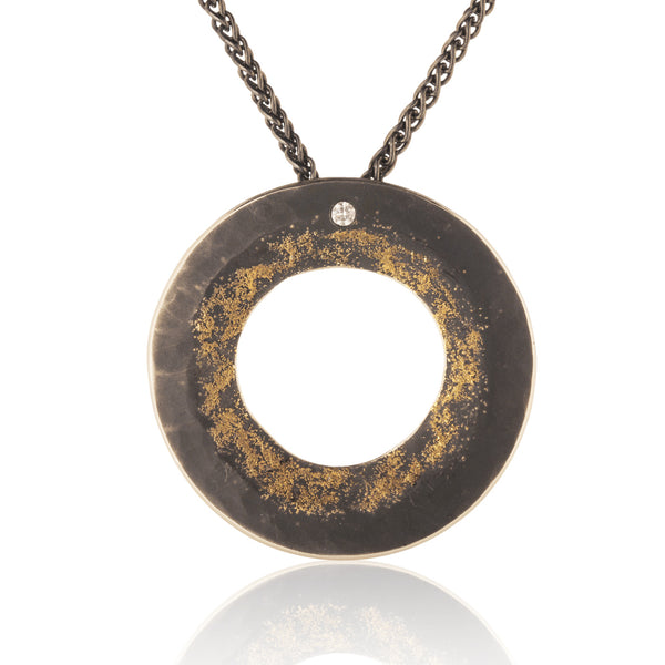 Hammered Gold Dust Diamond Pendant