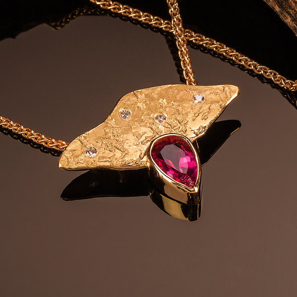 Pink Tourmaline Lithic Pendant