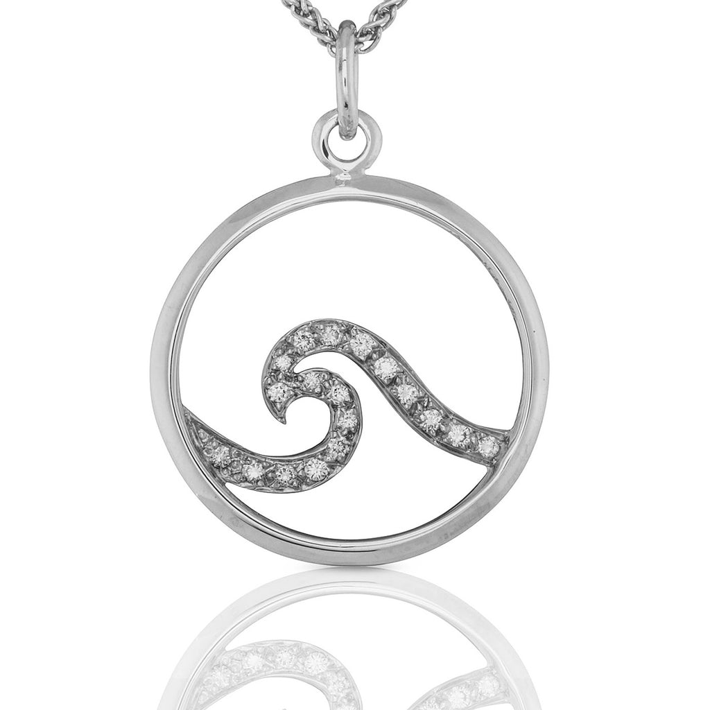 Ocean Pavé Wave Pendant in White Gold