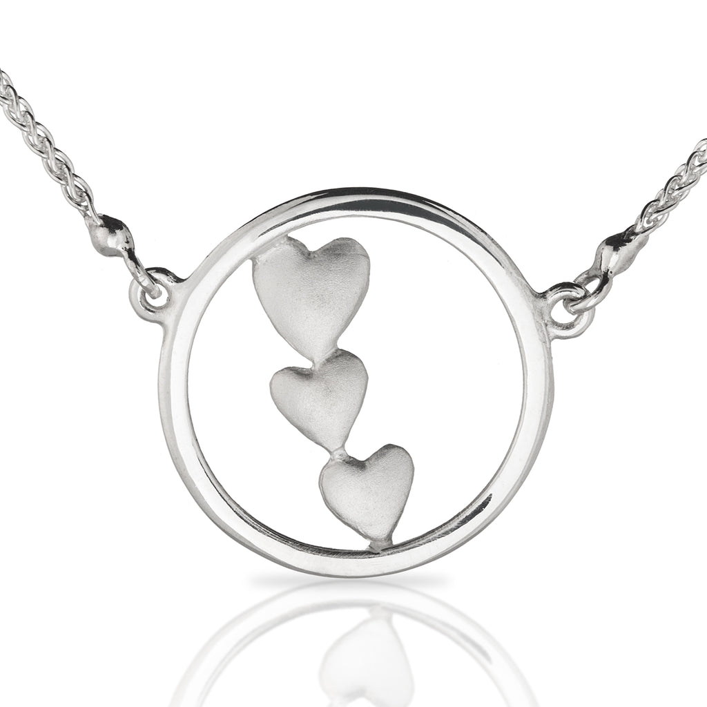 Triple Heart Necklace in Silver