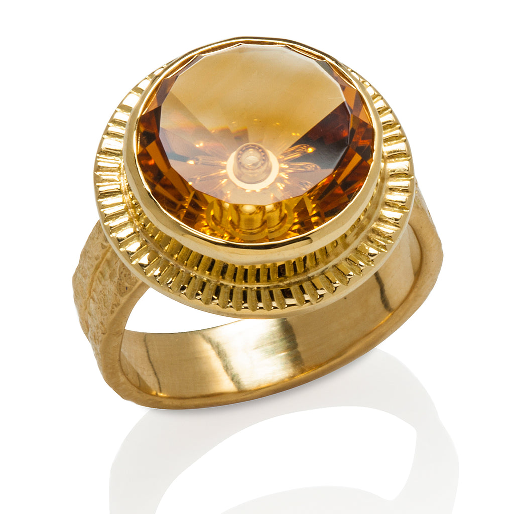 Fantasy Cut Citrine Ring