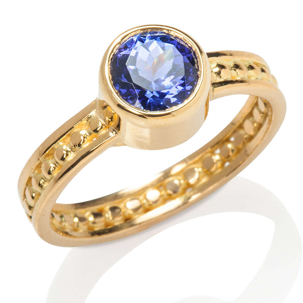 Bead & Rail Tanzanite Ring