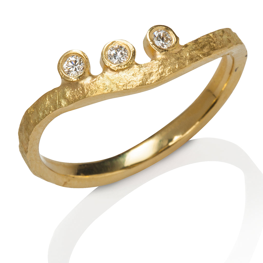 Rockhammered Diamond Stacking Ring