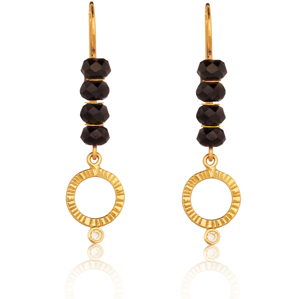 Spinel Circle Drop Earrings