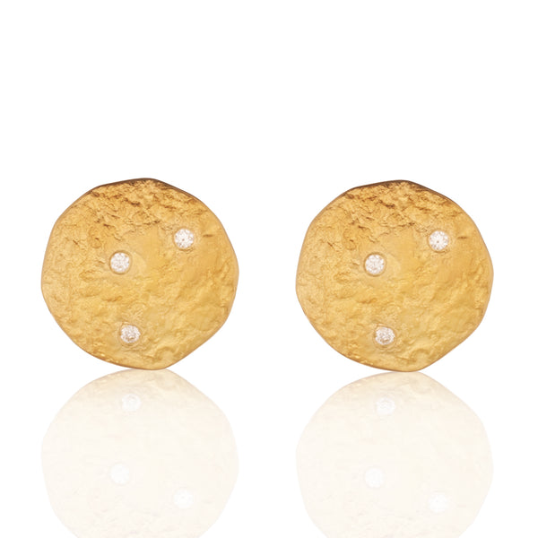 Rockhammered Diamond Disc Stud Earrings