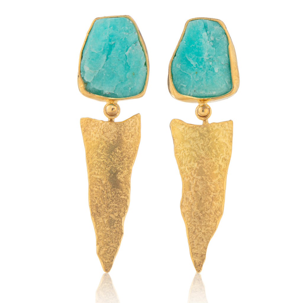 Amazonite Rockhammered Stud/Drops