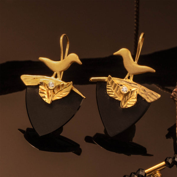 Onyx Bird Earrings