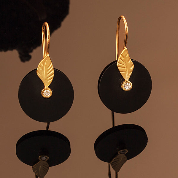 Onyx Leaf Drop Earrings