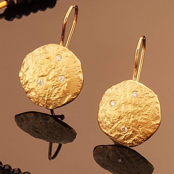 Rockhammered Diamond Disc Drop Earrings