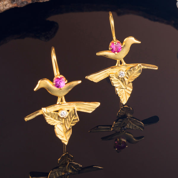 Sapphire Bird Earrings