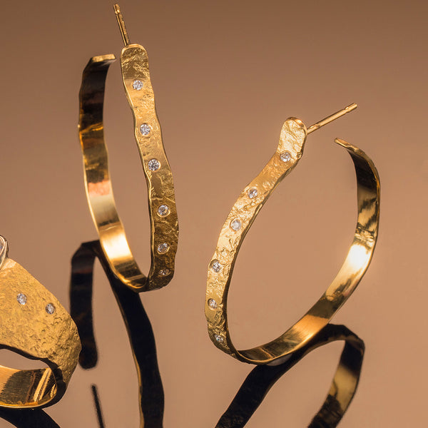 Rockhammered Diamond Hoops