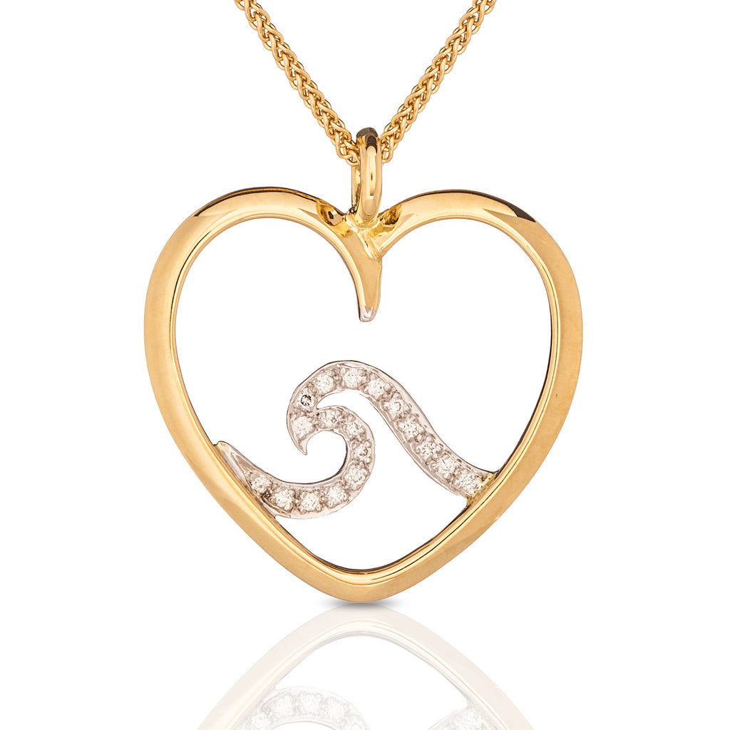 Signature Pavé Heart Wave Pendant