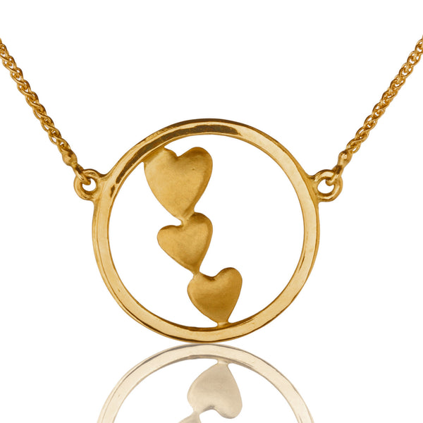 Triple Heart Necklace in Gold