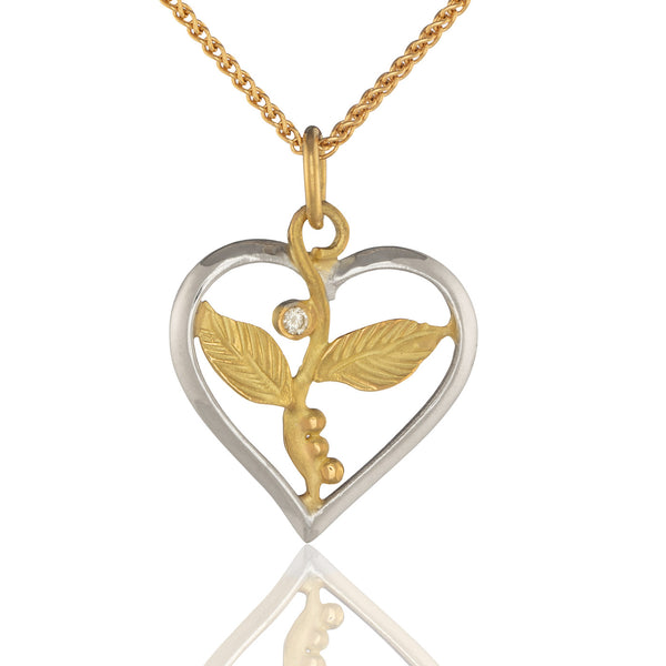 Leafy Heart in Gold and Silver