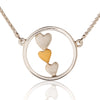 Triple Heart Necklace in Silver & Gold