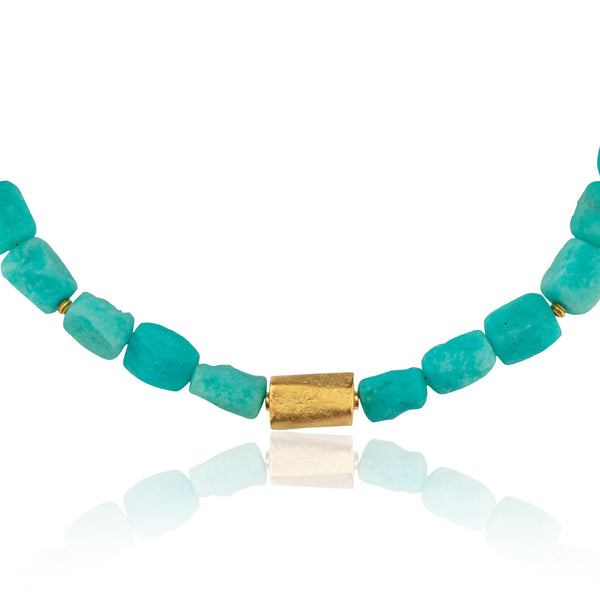 Cape Cod Jewelry - Amazonite and Gold Necklace