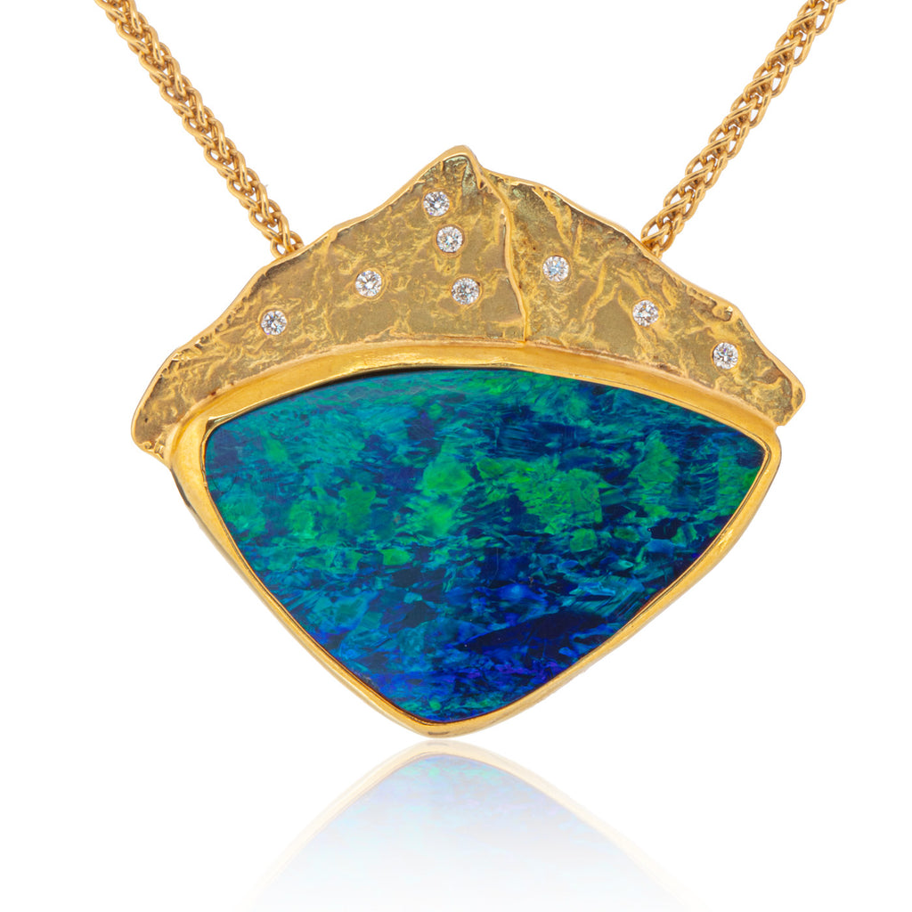Opal Pendant with Diamonds