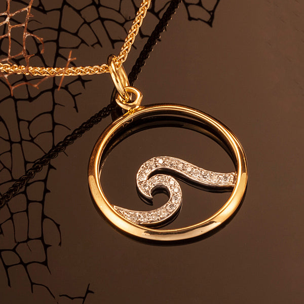 Ocean Pavé Wave Pendant in 18K Gold