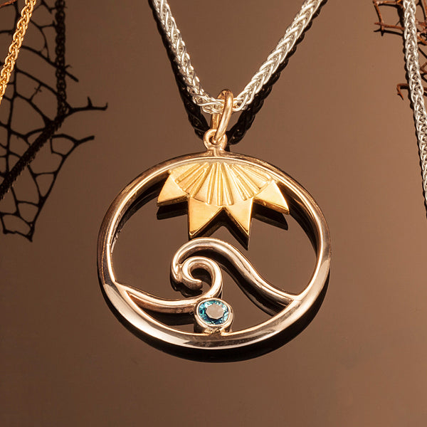 Signature Wave Pendant with 18K Sun & Blue Topaz