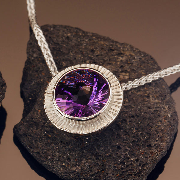 Amethyst Chip-Hammered Pendant