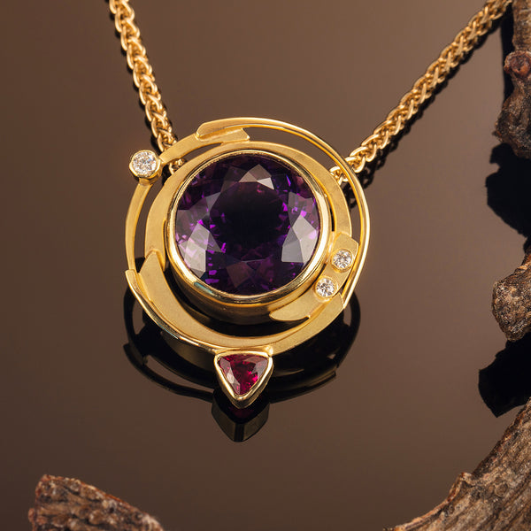 Amethyst and Pink Tourmaline Pendant