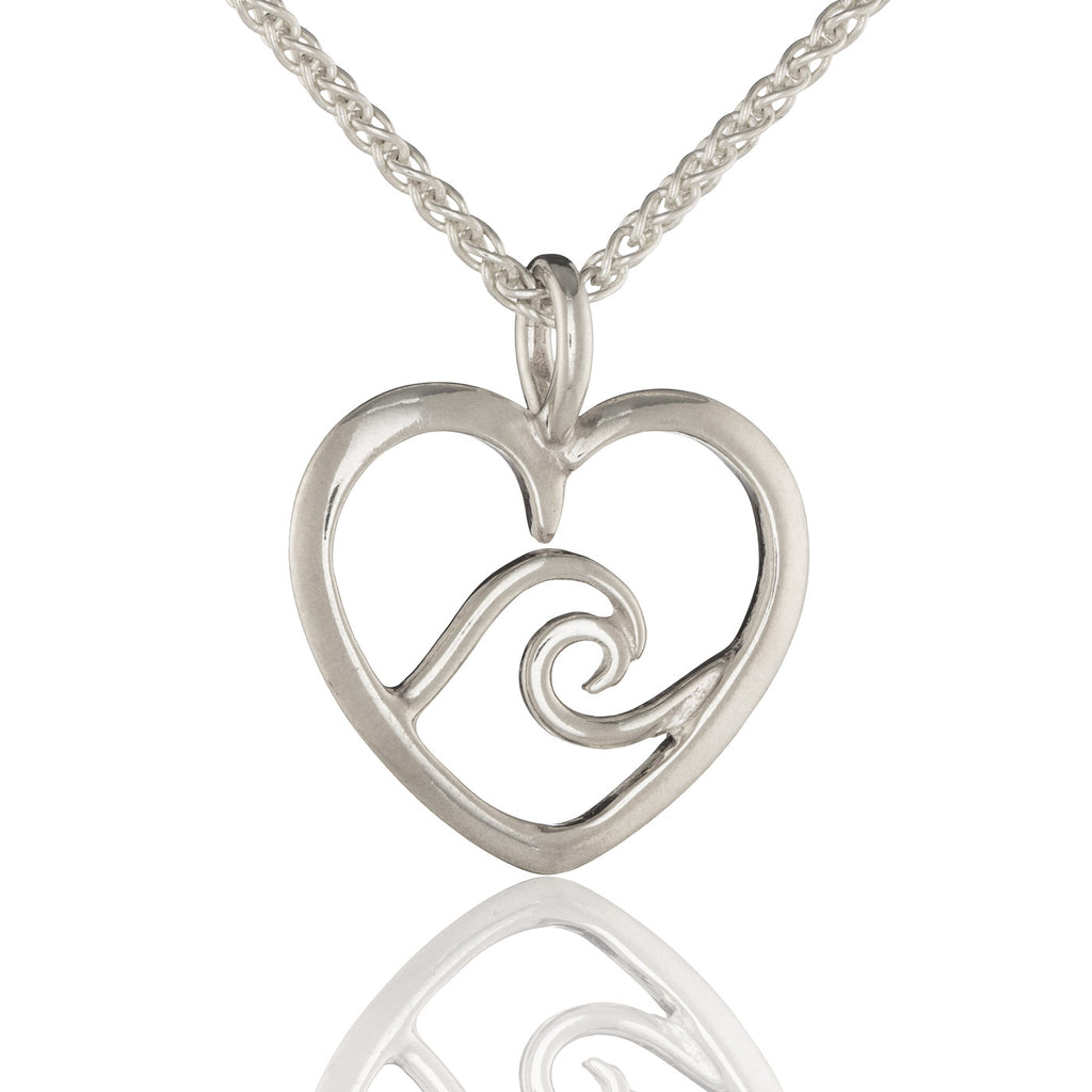 Signature Heart Wave Pendant in Silver