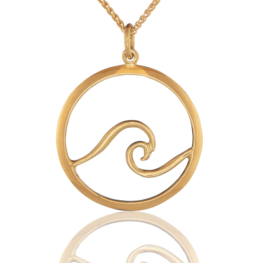 Ocean Wave Pendant in 18K Gold
