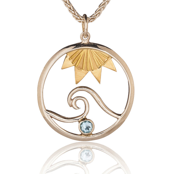 Signature Wave Pendant with Sun & Blue Topaz
