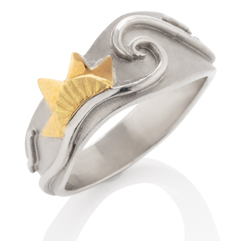 Ocean Ring with Gold Sun