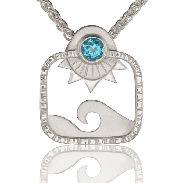 Blue Topaz Square Seascape Pendant