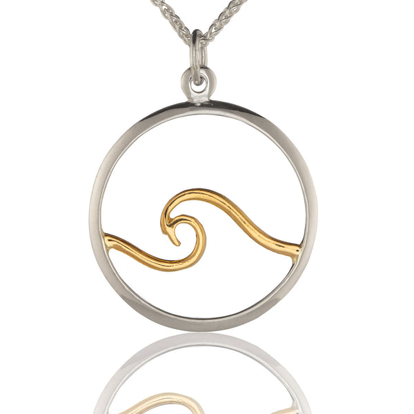 Sterling Silver Wave Pendant with 18K Gold Wave