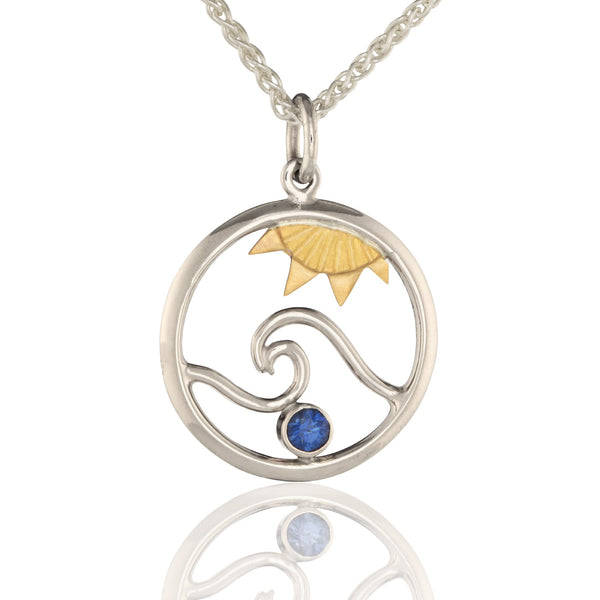 White Gold Ocean Pendant with 18K Sun and Sapphire