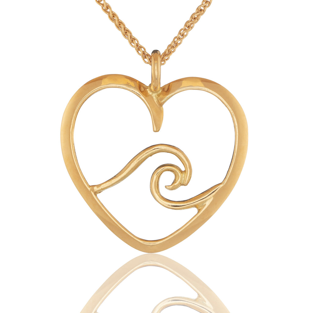 Signature Heart Wave Pendant in Gold