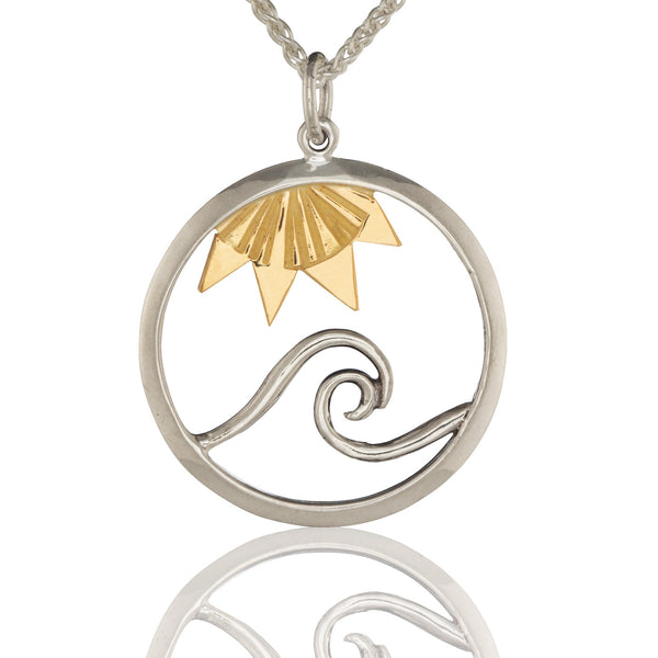 Signature Wave Pendant with  18K Sun