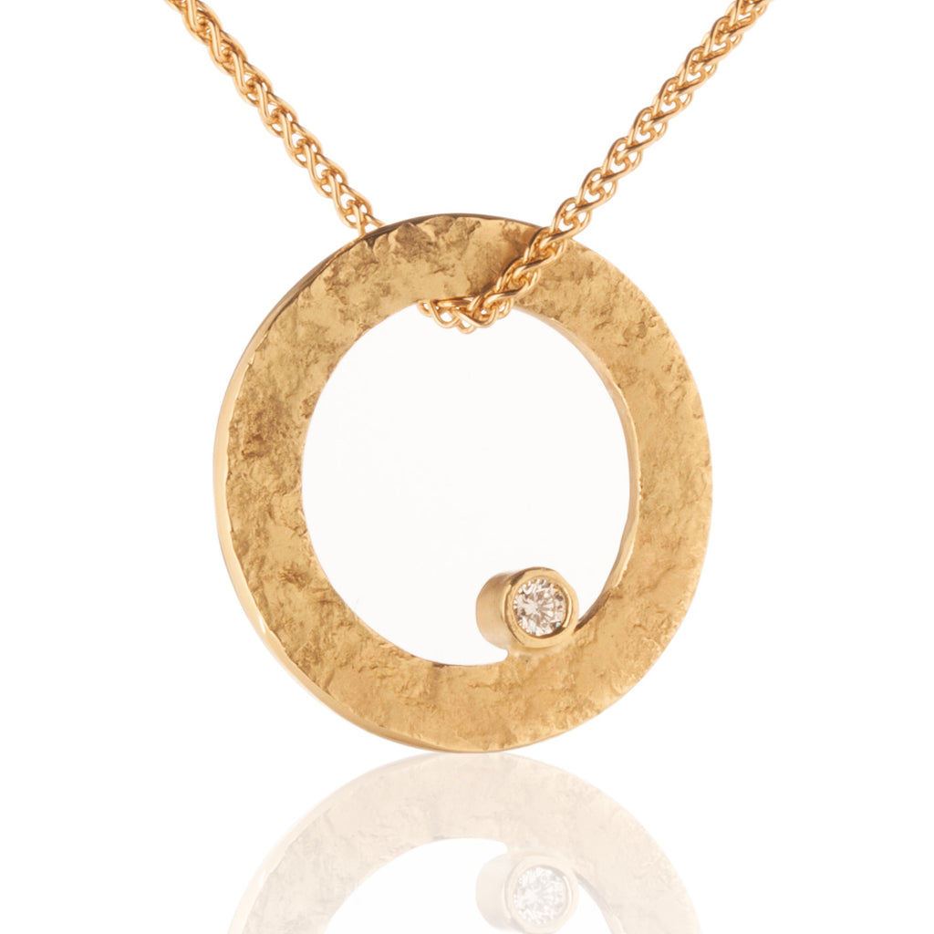 Rockhammered Circle Pendant