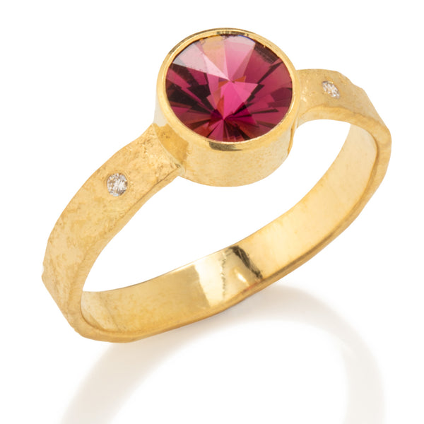 Rockhammered Ring with Pink Tourmaline