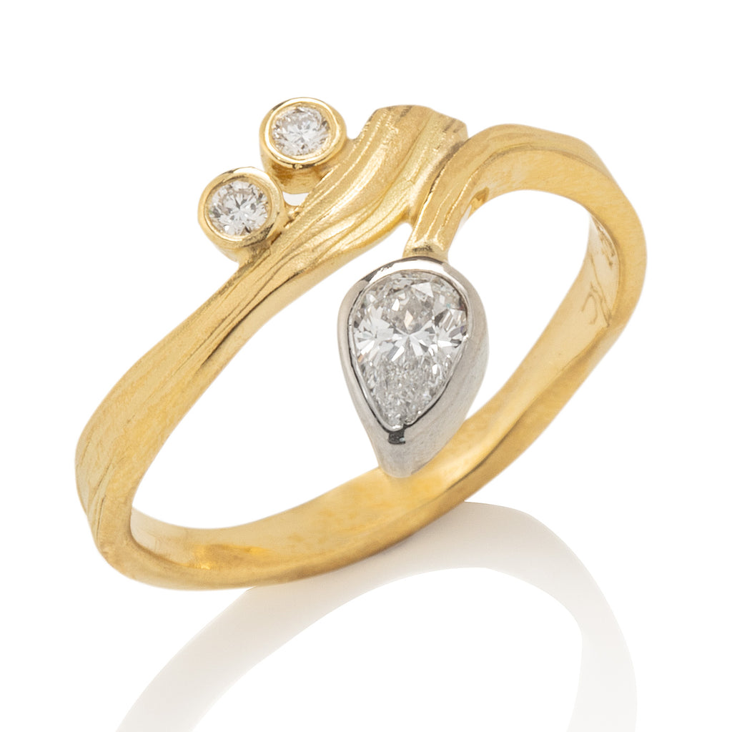 Swirl Ring with Pear Shape Diamond