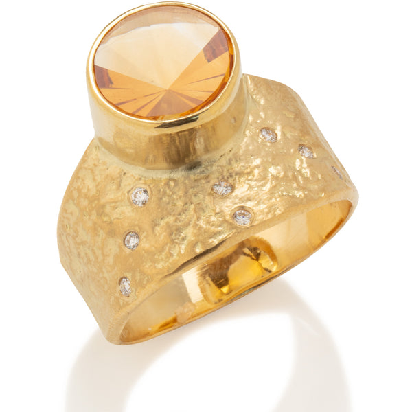 Rockhammered Ring with Citrine