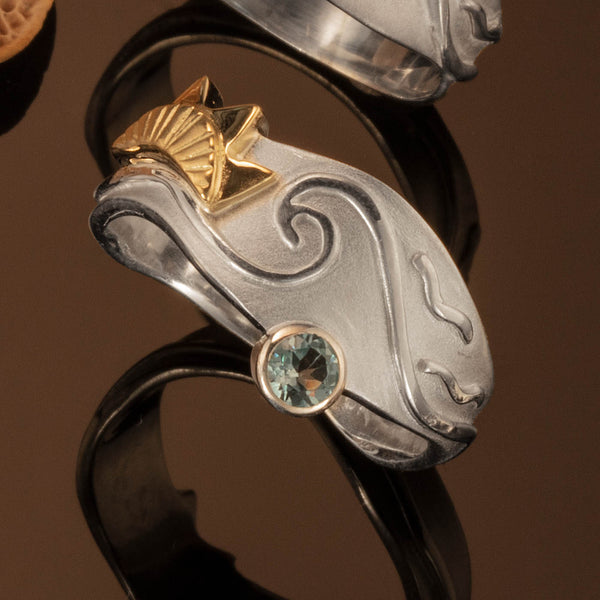 Ocean Ring with Gold Sun and Blue Topaz