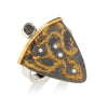 Starry Night Shield Ring with Diamond Cube