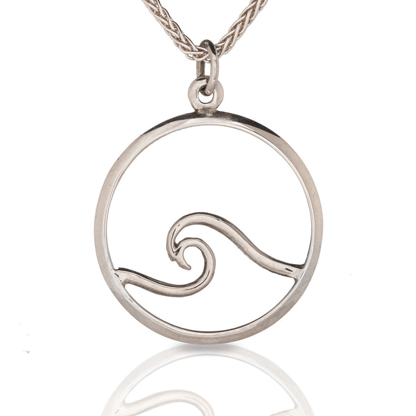 Signature Wave Pendant in White Gold
