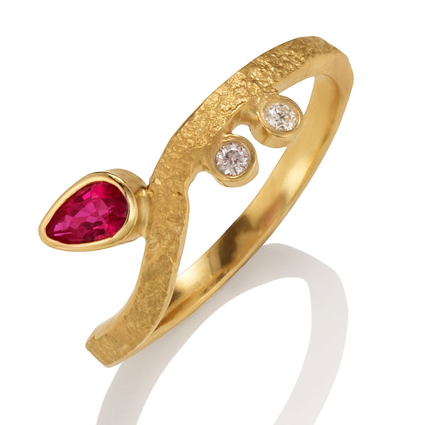 Stacking Ring with Red Spinel