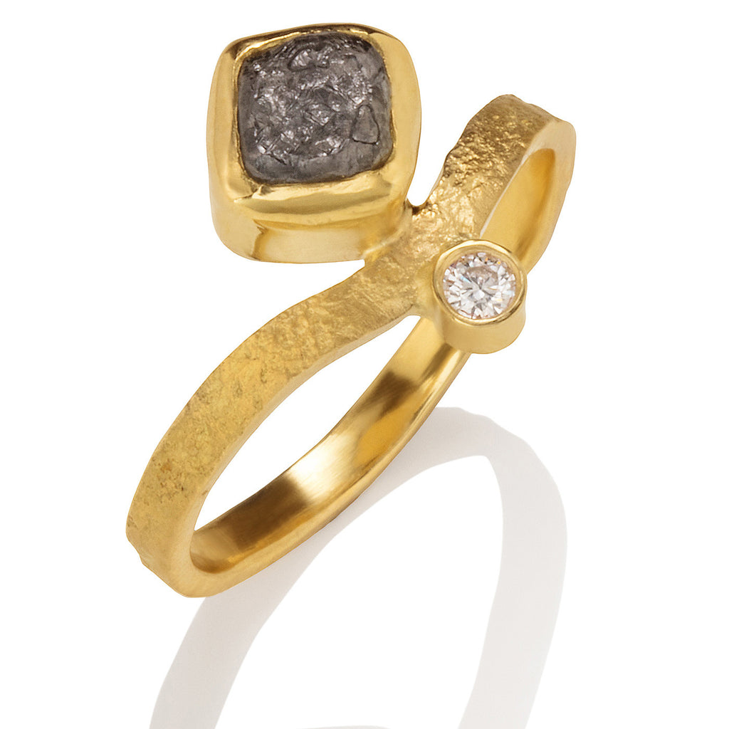 Stacking Ring with Diamond Cube