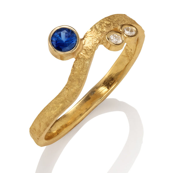 Rockhammered Sapphire Stacking Ring