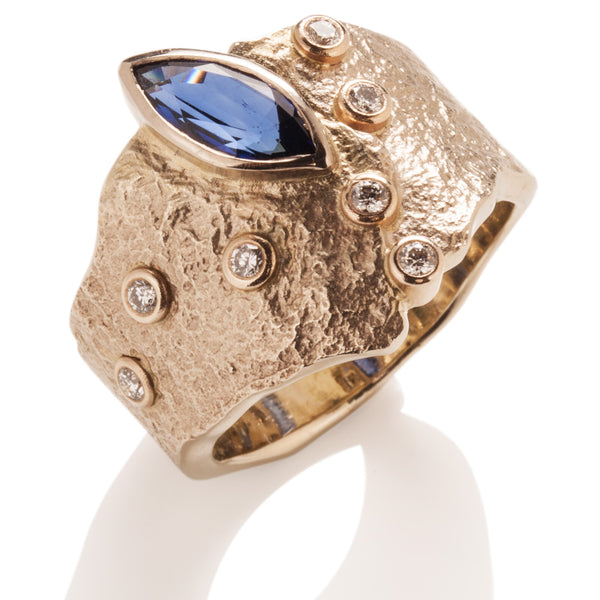 Rockhammered Sapphire Ring
