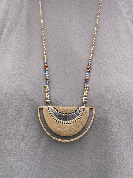 Gold Circle Beaded Necklace